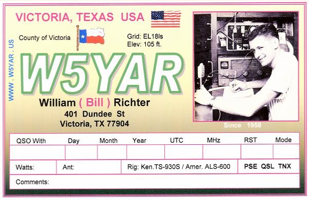 WYAR Amateure Radio Station - Qsl card template